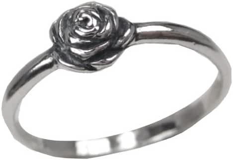 Sterling Silver .925 Polished Oxidized Blooming Rose Ring