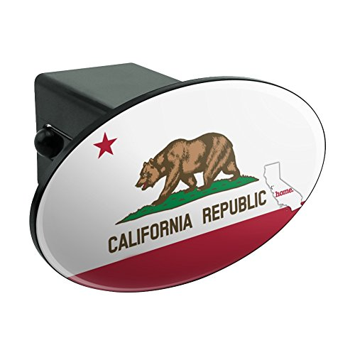 California CA Home State Flag Officially Licensed Oval Tow Hitch Cover Trailer Plug Insert 2