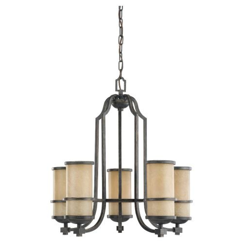Sea Gull Lighting 31521-845 Chandelier with Creme Parchment Glass Shades, Flemish Bronze Finish - Light Flemish Bronze Chandelier