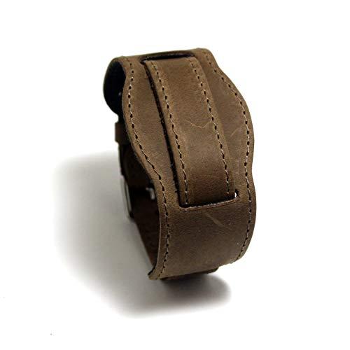 Cuff Sand Steel Bracelet Stainless (M18 Military bund type genuine leather watch strap sand color XL size 18 mm lug size)