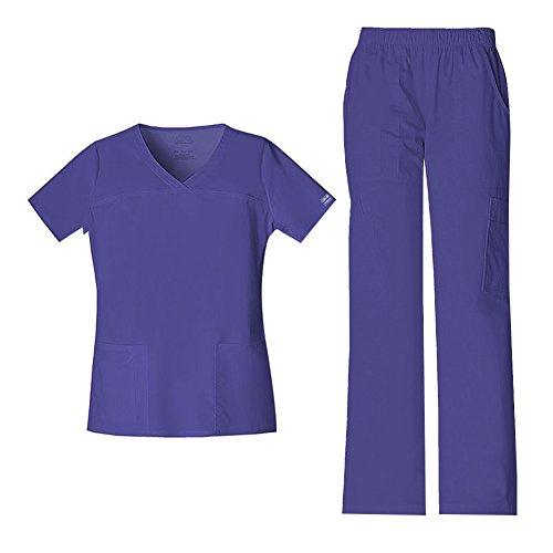 Cherokee Women's Workwear Core Stretch V-Neck Top 4727 & Mid Rise Pull On Cargo Pant 4005 Scrub Set (Grape - Large/Medium)