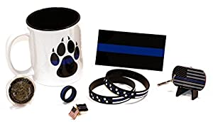 Police K9 Dog Paw Coffee Cup and Saint Michael's Coin w/Thin Blue Line Kit