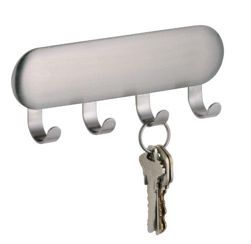 InterDesign 82600EU Forma Selbstklebendes Schlüsselbrett, klein, edelstahl gebürstet