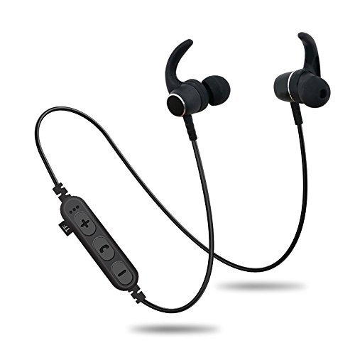 Bluetooth Headphones with TF SD Card Slot,Magnetic Wireless Sports in Ear Earbuds Headsets with Mic, Wireless Bluetooth 4.2 Magnetic Sports Headset Waterproof Outdoor (Black) (Memory Headphones Card)