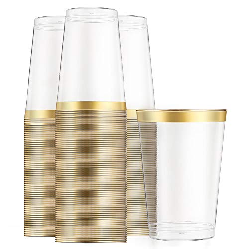 100pcs Gold Cups-12 Oz Clear Platic Cups-Tumblers Plastic Wedding Cups with Gold Rim Disposable Cups for Party Holiday