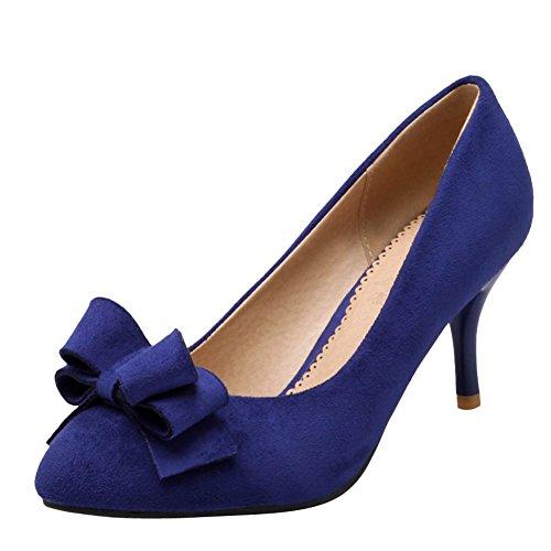 Charme Voet Dames Puntschoen Strikjes Hoge Hak Pumps Schoenen Blauw