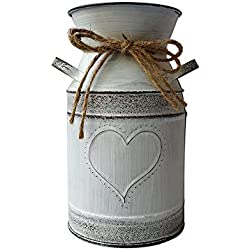 SHDAO French Style Country Rustic Primitive Jug Vase Pitcher Vase Galvanized Milk Can for Wedding Decor -7.5 inch