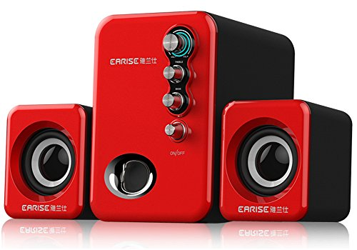 USB Powered 2.1 Stereo Computer Speakers with Subwoofer Red EARISE - Price Spotter