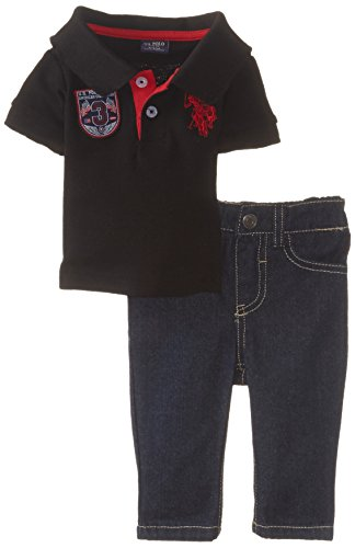 Embroidered Pique Jeans - U.S. Polo Assn. Baby Boys' Solid Pique Polo and Denim Jean, Black, 3-6 Months