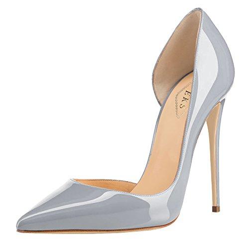 EKS - Zapatos de Tacón Mujer 40 EU|Gris - Grau-Lackleder