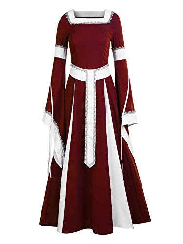NiuBia Womens Deluxe Medieval Dress Renaissance Costumes Victorian Irish Over Long Dress Cosplay Retro Gown for $<!--$41.98-->