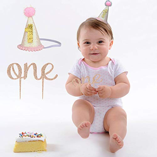 rthday Girl Party Decorations - 1st Baby Girl Birthday Party Hat,Double-Sided Gold Glitter Sparkle One Cake Topper for Baby Shower Party Supplies(2pcs) ()