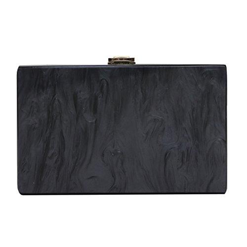 (Women Bags New Designer Fashion Party Prom Solid Handbag Acrylic Evening Bag Black Casual Woman Clutch Purse)