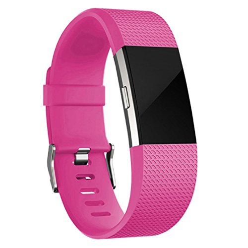Fitbit Charge 2 Bands Silicone Rose Red Small, Special Edition Adjustable Replacement Accessory Wristbands, Small Large for Charge 2 Smartwatch Fitness Strap
