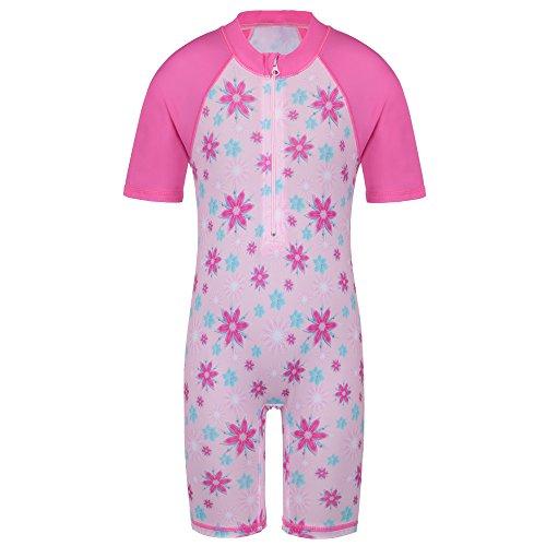 TFJH E Girls Swimsuit UPF 50+ UV One Piece Kids Sunscreen Costume Pink 2A -