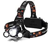 Xelparuc LED Headlamp 6000 Lumen Flashlight, 4 Modes Light, Rechargeable 18650 Headlight, Waterproof Hard Hat Light, Running Bright Head Lights, Hunting or Camping Headlamps+Charger+Car Charger