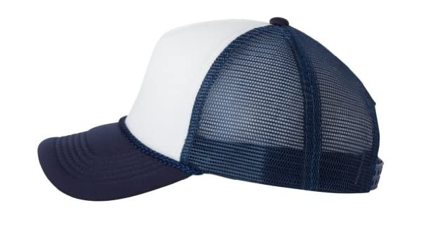c3ad92c45aa9f Amazon.com  Valucap by Sportsman Foam Trucker Cap. VC700 - White   Navy   Clothing