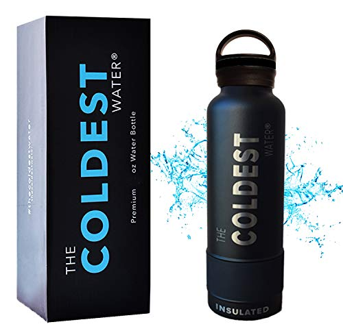 The Coldest Water Bottle Vacuum Insulated Stainless Steel Hydro Travel Mug - Ice Cold Up to 36 Hrs/Hot 13 Hrs Double Walled Flask - with Strong Cap (Tactical Black, 21 oz)