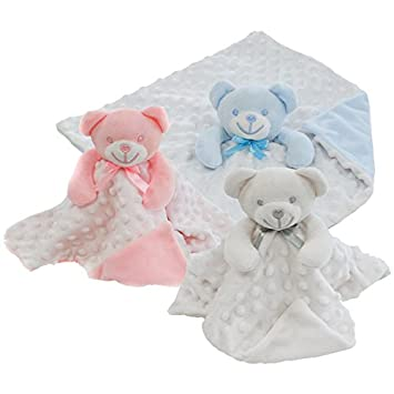17510b8590d6d Personalised Embroidered Baby Dimple Comforter Taggy Bear Blanket with name  Newborn Boy or Girl (Baby Blue)