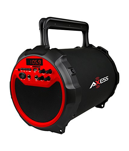 AXESS SPBT1034RD Portable Bluetooth Indoor/Outdoor 2.1 Hi-Fi Loud Speaker/Sing Along with Built-In 6