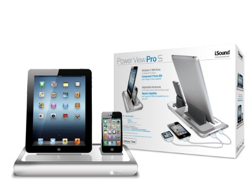 iSound Power View Pro S Charge and View Dock with 2 Apple 30 Pin Charge for iPad 1 2 & 3, all iPhones (except for iPhone 5 and above) , all iPod touches and more (white) by iSound