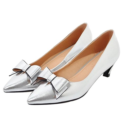 SJJH Court Shoes with Kitten Heel and Pointed Toe Casual Shoes with Patent Leather Silver pRD5zES