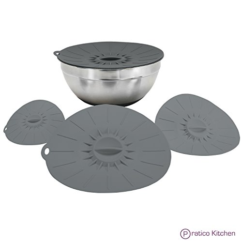 EZ-Lid Silicone Lids & Food Covers - Reusable Silicone Suction Lids for Pots, Bowls, Cups & More (4 Pack: 12 in, 10.5 in, 8 in, 6 in Size Lids) Dark Grey