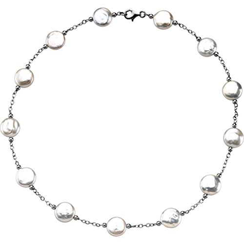 White Freshwater Cultured Coin Pearl Station Necklace, 18'' (12-13MM) by The Men's Jewelry Store (for HER)