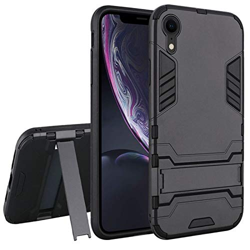 Insten Dynamite Shockproof Dual Layer [Shock Absorbing] Protection Hybrid Stand PC/TPU Rubber Case Cover Compatible with Apple iPhone XR, Black
