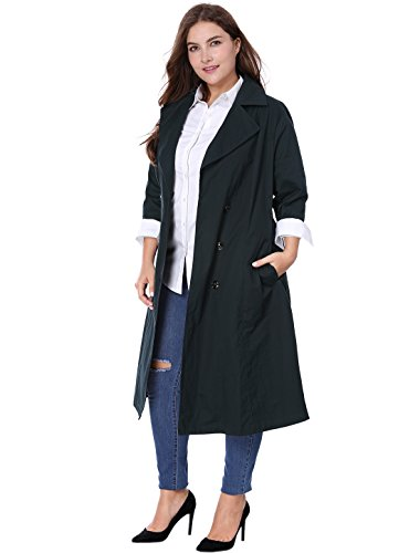 Agnes Orinda Women's Plus Size 3/4 Sleeves Belted Long Trench Coat 2X Blue (Length 3/4 Coat Sleeve Mid)