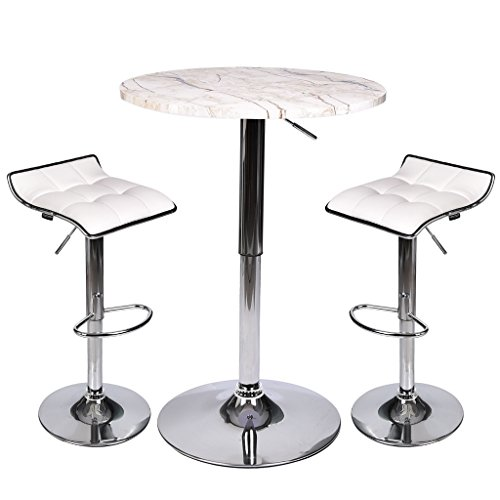Restaurant Tables Bar Marble (Round Dining Bar Table, 35 Inches Height, 360 Swivel Kitchen Home Bar Furniture MDF Top Bistro Marble Pub Table with 2 White Seat Adjustable Hydraulic Barstools)