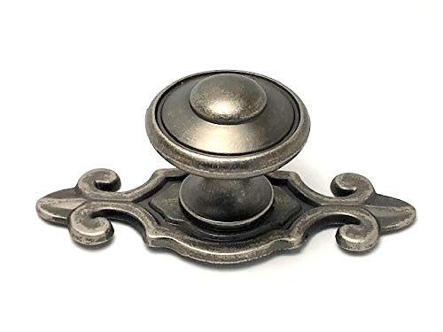 Sonoma Cabinet Hardware Madera Knob with Flure de Lis Backplate Antique Pewter