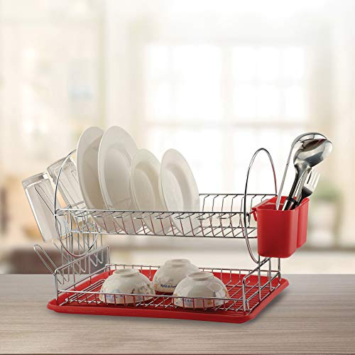 (Sweet Home Collection Dish Drainer Drying Rack 2 Tier Basic Set Drain Board and Utensil Holder Simple Easy to Use, 12