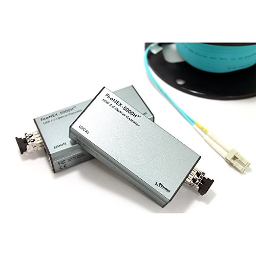 USB 3.0 Optical Link Extender/Repeater with Power Delivery Option, FireNEX-5000H Hybrid Optical Fiber Extender, Extend USB 3 Signal and Power Up to 300 Meters, 1000 Feet