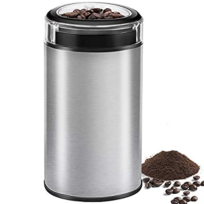 Coffee Grinder Electric Spice Grinder, CUSINAID Stainless Steel Blades Grinder for Coffee Bean Seed Nut Spice Herb Pepper, Transparent Lid with 50g Big Capacity silver\n
