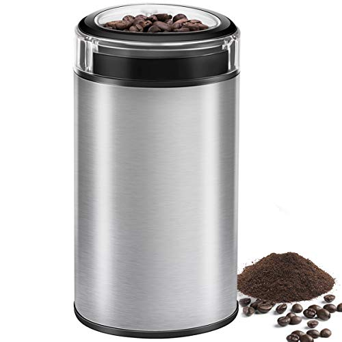 Coffee Grinder Electric Spice Grinder, CUSINAID Stainless Steel Blades Grinder for Coffee Bean Seed Nut Spice Herb Pepper, Transparent Lid with 50g Big Capacity Silver