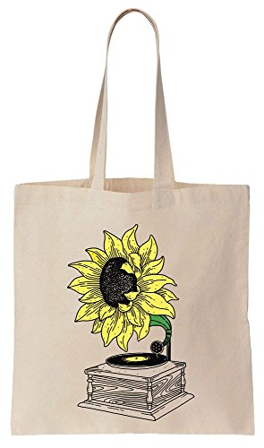 Tote Gramophone Music Sunflower Music From Bag Sunflower Cotton Canvas The 481qn7c