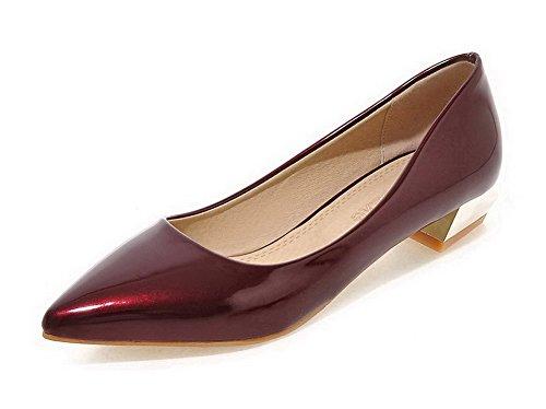 VogueZone009 Damen Mittler Rein Ziehen auf Lackleder Quadratisch Zehe Pumps Schuhe, Weinrot, 36
