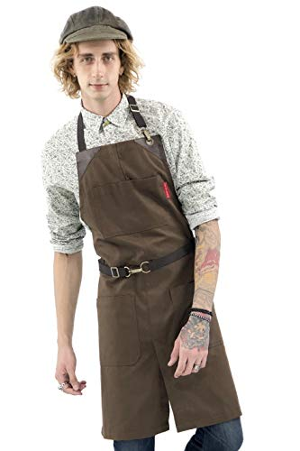 (Under NY Sky No-Tie Chocolate Brown Apron - Durable Twill with Leather Reinforcement and Split-Leg - Adjustable for Men and Women - Pro Barber, Tattoo, Barista, Bartender, Baker, Hair Stylist, Server)