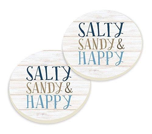 P GRAHAM DUNN Salty Sandy /& Happy Whitewash Look 3 x 3 Ceramic Car Coasters 2 Pack