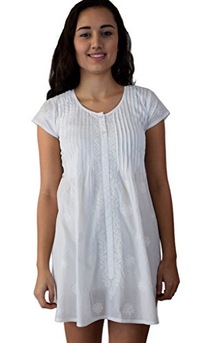 Buy embroidered cotton tunic dress - 1