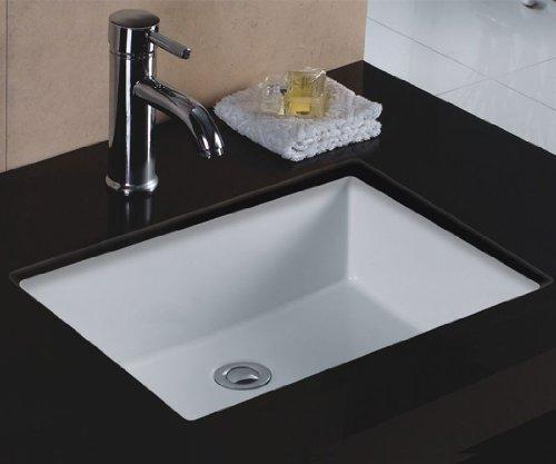 (Wells Sinkware Rectangular Vitreous Ceramic Lavatory Single Bowl Undermount White 20 x 16 x 6)