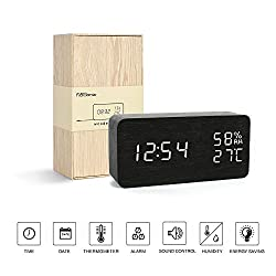 Office Desk Clock---FiBiSonic Black Wooden Clock White LED Digital Voice/Touch Control Desk Silent Modern Style Alarm Clock with Thermometer and Hygrometer, Best Gifts for Friends/Families
