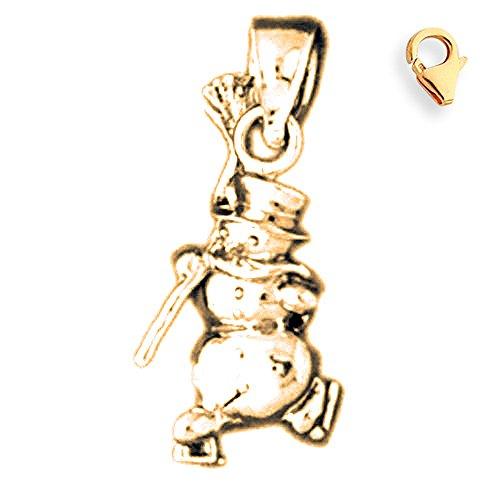 Jewels Obsession 3D Snowman Charm | 14K Yellow Gold 3D Snowman Charm Pendant - 22mm