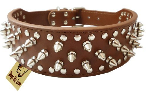 "14.5""-17.5"" Brown Faux Leather Spiked Studded Dog Collar 2"" Wide, 25 Spikes 44 Studs, Pit Bull, Boxer"