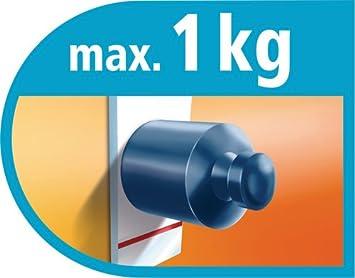 wieder abl/ösbar 3 St/ück bis 1kg tesa selbstklebende Haken oval blau