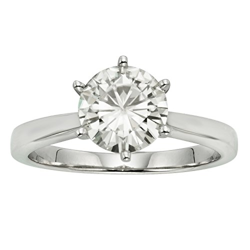 Moissanite Classic Solitaire - Forever Classic Round 6.0mm Moissanite Engagement Ring-size 5, 0.80ct DEW by Charles & Colvard