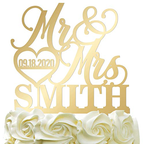 Personalized Wedding Cake Topper - Wedding Cake Decoration Elegant Customized Mr-Mrs, Last Name & Date With HeartMirrored Acrylic