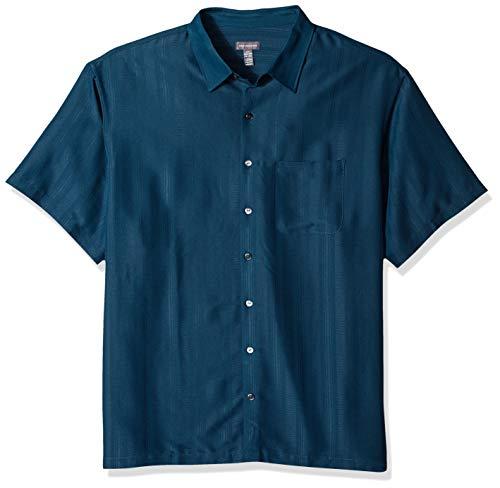 Van Heusen Men's Size Big and Tall Poly Rayon Short Sleeve Button Down Shirt, Aqua Inland 4X-Large