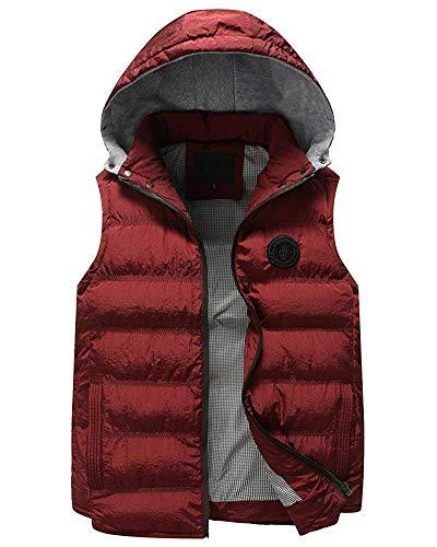 Laterali Cappotti Vest Trapuntato Cappuccio Cerniera Bodywarmer Uomo Gilet Calda Distintivo Con Rot Slim Giacca Senza Maniche Fit Giovane Da Tasche wtaWfU